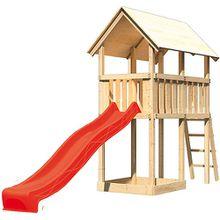 Spielturm Danny mit Satteldach & Rutsche, rot