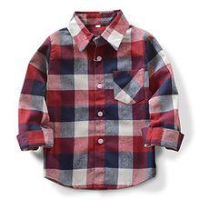 OCHENTA Hemden Jungen Langarm Plaid Kariert Freizeithemd E006 Rot Blau Asiatisch 130cm-(De 124cm)