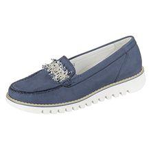 Waldläufer Habea 926503 191 206 Damen Slipper Komfort Weite H Denver Blau (Jeans), 38 EU/5 UK