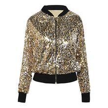 PrettyGuide Damen Pailletten Jacke Langarm Glitzerjacke Bomberjacke Gold XL