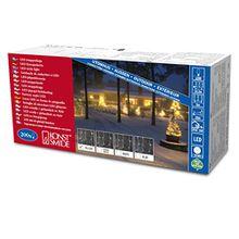 Konstsmide 2733-002 LED Eisregen Lichtervorhang/200 gelbe Dioden/24V Außentrafo/weißes Kabel