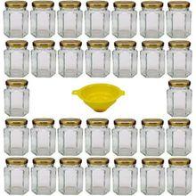 Viva Haushaltswaren 30 x kleines Einmachglas 110 ml mit goldfarbenem Deckel, sechseckige Glasdosen als Marmeladengläser, Gewürzdosen, Gastgeschenk etc. verwendbar (inkl. Trichter)