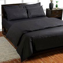 Homescapes Bettlaken Betttuch Haustuch 240 x 275 cm aus 100% reiner ägyptischer Baumwolle Fadendichte 200 schwarz