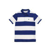 LACOSTE Shirt 'CHEMISE COL BORD-COTES MA' blau / weiß