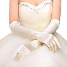 """Damen lange Satin Abend Party Kostüm Handschuhe 21"""" Bräute Hochzeit Handschuhe Ivory"""