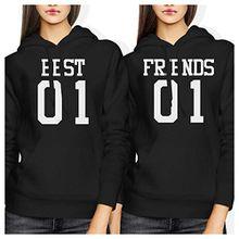 LOVE TO LOVE Damen Kapuzenpullover schwarz schwarz One size Gr. Verbindungen-S/Recht-S, Best 01 Friend 01 BFF Hoodies