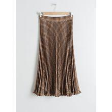 Pleated Plaid Midi Skirt - Brown