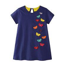 HUIHUI Kleid Mädchen, Toddler Mädchen Kleid Schmetterling Druck Kurzarm Sommerkleid Party Prinzessin Dress Casual T-shirt Kleid Frühlings Herbst Cocktailkleid (130 (5-6Jahre), Marine)