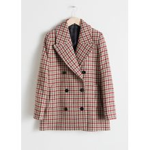 Wool Blend Houndstooth Coat - Beige