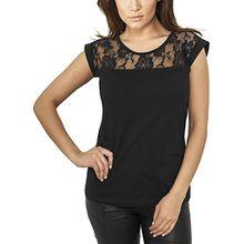 Urban Classics Damen T-Shirt Ladies Top Laces Tee, Schwarz, XL