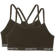 Sanetta Mädchen Bustier 344841, 2er Pack, Schwarz (Super 10015), 164
