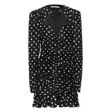 Polka Dot Ruched Mini Black