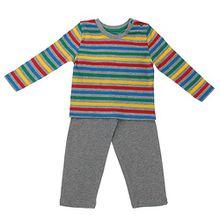 Baby-Jungen Schlafanzug, Lupilu Baby-Jungen Hose Shirt Schlafanzug Mit Knöpfe 2 Teilig, Grau Multi, in Größe 86/92