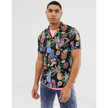 Soul Star - Kurzärmliges Hemd mit Reverskragen und Obstmuster - Navy