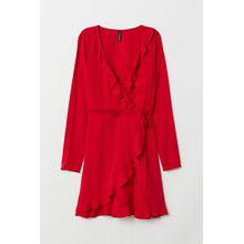 H & M - Wickelkleid mit Volants - Red - Damen