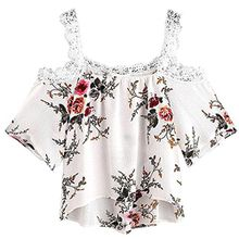 Damen Tops, VEMOW Frauen Sommer Kurzarm Off Schulter Lace Floral Bluse T-Shirt