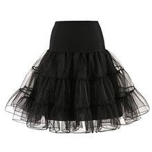 Rock Damen Kurz Rockabilly Kleid Petticoat Kleider Fasching Elegant Faltenrock (S, Schwarz)