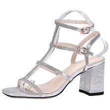 AIYOUMEI Damen Knöchelriemchen Blockabastz Sandalen mit Strass und Schnalle Elegant Schuhe