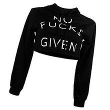 Damen Bauchfrei Sweatshirt hoodie Art Und Weise Frauen Buchstaben Print-Design Lange Ärmel Kurz Hoodie Tops Balck Xl - Schwarz, S