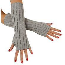Immerschön Gestrickte Armstulpen zum Lagenlook, fingerlos, Damen Accessory, hellgrau, one size