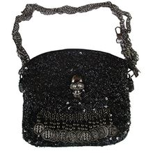 Rockabilly Punk Rock Baby Tasche Schwarz Pailetten Skull Totenkopf Handtasche Bag