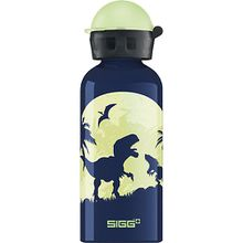 Alu-Trinkflasche Glow in the Dark Moon Dinos, 400 ml blau-kombi