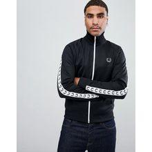 Fred Perry - Sport - Schwarze Trainingsjacke mit grafischen Logobändern - Schwarz