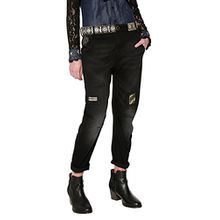 Desigual Damen Jeans DENIM_CAMEL Boyfriend, Blau (Black Denim 5009), W30