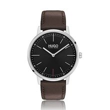 Unisex-Uhr aus Edelstahl mit braunem Lederarmband