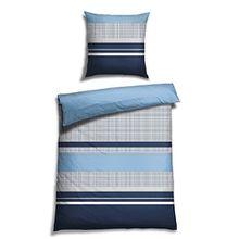 Schiesser Satin Bettwäsche Vertus blau / 100% Baumwolle / in versch. Größen erhältlich, Größe:155 cm x 220 cm + 80 x 80 cm