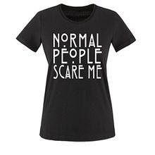 Comedy Shirts - Normal People Scare Me - Damen T-Shirt - Schwarz / Weiss Gr. S