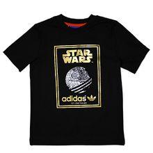 adidas Originals Star Wars Kinder T-Shirt Todesstern Tee Schwarz Gold 74-176, Farbe:Schwarz, Größe:104