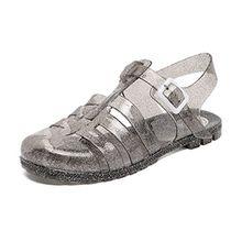 Schuhe Gelee Damen Strand Sandalen Sommer Fesselriemen Geschlossen Jelly Sandals Schnalle Flach Schwarz Gold Grau Rosa Weis 37 Grau
