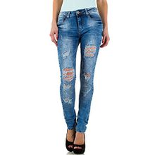 Destroyed Low Skinny Jeans Für Damen , Blau In Gr. Xl/42 bei Ital-Design