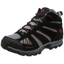 Columbia Jungen Youth North Plains Mid Waterproof Trekking-& Wanderhalbschuhe, Blau (Grey Ash/Mountiain Red), 35 EU