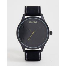 Bellfield - Schwarze Herrenarmbanduhr mit schwarzem Zifferblatt - Schwarz
