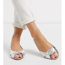 ASOS DESIGN Wide Fit – Leadership – Silberne, flache Peeptoe-Ballerinas