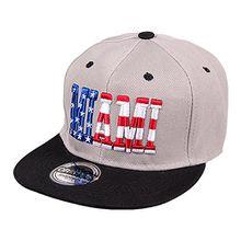 ANN FIXEN Snapback Originals Basecap Hipster Hip Hop Cap Schirmmütze Kappe Baseballcap Baseball Mütze für Damen, Herren und Kinder grau MIAMI (SNAP-37MIA)