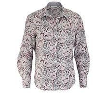 eterna Comfort Fit Bluse Langarm Hemdenkragen mit Besatz Muster rosa Größe 38