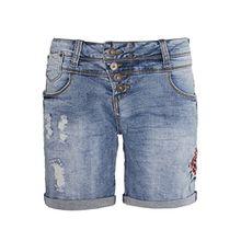 Rock Angel Damen Denim Bermuda BROOK mit Stickereien | Jeans-Shorts | Kurze Hose middle-blue L