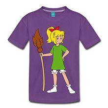 Spreadshirt Bibi Blocksberg Mit Ihrem Besen Kartoffelbrei Kinder Premium T-Shirt, 122/128 (6 Jahre), Lila