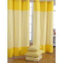 Homescapes dekorativer Vorhang Ösenvorhang Dekoschal Thick Stripes im 2er Set, gelb weiß, 117 x 137 cm (Breite x Länge je Vorhang), 100% reine Baumwolle