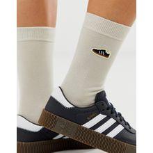 adidas Originals - Samba - Cremefarbene, bestickte Socken - Cremeweiß