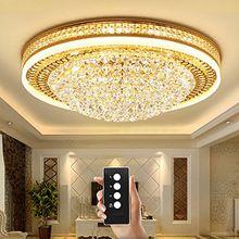 Wenrun Lighting Wohnzimmer LED 3 Helligkeit K9 Kristall und S-Golden Spiegel Edelstahl Kronleuchter Deckenlampen Hängelampe Lüster Leuchte Lampen Licht Mit LED Glühbirne und Fernbedienung (D80cm x H30cm)
