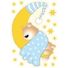 Wandsticker Bärchen, Mond und Sterne, blau gelb