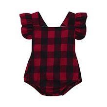 Manadlian Niedlich Baby Mädchen Säugling Plaid ÄrmellosKleider Overall Baumwolle Spielanzug Mini Kleider Hosen Frühling Herbst Outfits (12M, Rot)