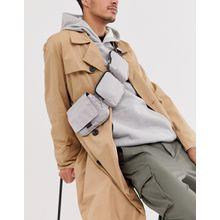 ASOS WHITE – Silberfarbene Umhängetasche mit mehreren Taschen