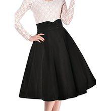 Miusol Damen Elegant Faltenrock Zweireiher Causal Business Vintage 1950er Jahr Roecke Schwarz Gr.XXL