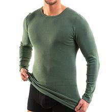 HERMKO 3640 Herren langarm Shirt aus 100% EU Baumwolle, long-sleeved underwear for men Männer Unterhemd mit langen Armen, Größe:D 6 = EU L, Farbe:tanne