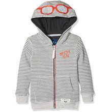 TOM TAILOR Unisex Baby Sweatshirt Sweatjacke Gestreift 1/1 Hood, Beige (Greyish Beige Melange 8353), 128/134